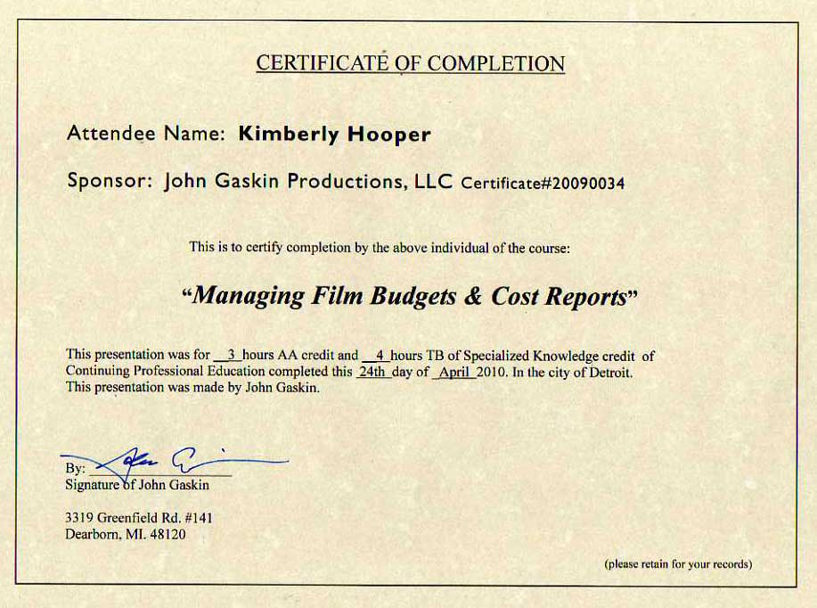 Listing Credits In Film Production Resume
